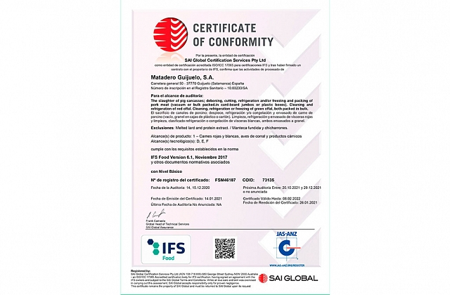 IFS Food Announced Certificate