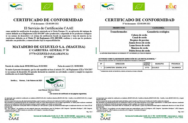 Certificado: Cerdos Ecológicos